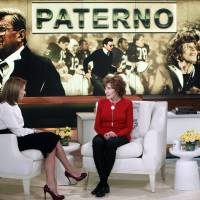 Photo - This Feb. 6, 2013 photo released by ABC shows Sue Paterno, widow of legendary football coach Joe Paterno, right, with Katie Couric for an exclusive interview for the