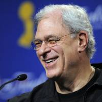 Photo - FILE - In this June 3, 2009 file photo, Los Angeles Lakers coach Phil Jackson answers question during a news conference after practice for Game 1 of the NBA final basketball series in Los Angeles. Carmelo Anthony says he has heard that 11-time NBA champion coach Phil Jackson will be