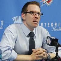 Photo - Sam Presti at a Thunder Press Conference, Friday, September 24, 2010.      Photo by David McDaniel, The Oklahoman