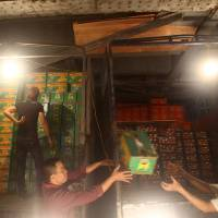 Photo - In this March 9, 2013 photo,  porters unload boxes of Chinese oranges at Long Bien wholesale market for fruits and vegetables in Hanoi, Vietnam. Around half of the produce at the market is trucked in from China, arriving in the city in the middle of the night and distribute for Hanoi and neighbor areas. China has emerged as one of the world's leading exporters of fruit and vegetables, and is increasingly taking market share from U.S. producers in Asian markets. It grows more apples than any other country. There are no figures on how much of the crop Vietnam imports. Chinese fruit is often cheaper than Vietnamese, and offers more variety.(AP Photo/Na Son Nguyen)