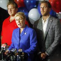 Photo - Republican incumbent State Schools Superintendent Janet Barresi gives her concession speech after falling in the Republican primary to Joy Hofmeister at a watch party held at West, a restaurant in Oklahoma City on June 24, 2014. Photo by KT King/The Oklahoman
