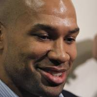 Photo - SIGN / SIGNED: Derek Fisher talks to the media about his signing with the Oklahoma City Thunder before the NBA basketball game between the Oklahoma City Thunder and the Los Angeles Clippers at Chesapeake Energy Arena on Wednesday, March 21, 2012 in Oklahoma City, Okla.  Photo by Chris Landsberger, The Oklahoman