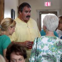 Photo - Oklahoma Senate District 41 candidate Paul Blair, R-Edmond, talks with supporters during a watch party in Edmond, Okla., Tuesday, June 26, 2012. Photo by Bryan Terry, The Oklahoman