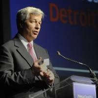 Photo - JP Morgan Chase  Chairman and CEO  Jamie Dimon speaks  at The Garden Theater in Detroit on Wednesday, May 21, 2014.    The chairman and CEO of America's biggest bank on Wednesday gave Detroit a pep talk and a promise of $100 million over the next five years. (AP Photo/Detroit News, Chrles V. Tines)