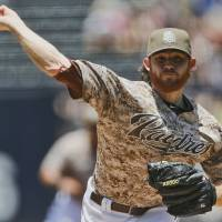 Photo - San Diego Padres starting pitcher Ian Kennedy works against the Chicago Cubs during the first inning of a baseball game Sunday, May 25, 2014, in San Diego. (AP Photo/Lenny Ignelzi)