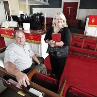 Photo - Rev. Steve Brant and Rev. Diana Pruitt in the sanctuary at Cornerstone United Methodist Church, 2604 N May Ave.,  in Oklahoma City Thursday, Sept. 12, 2013.  Photo by Paul B. Southerland, The Oklahoman