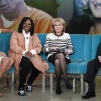 Photo - This Wednesday, March 26, 2014 photo provided by ABC shows, from left, featured guest co-host, attorney Sunny Hostin, Whoopi Goldberg, Barbara Walters and Gerald Schwartzbach, on