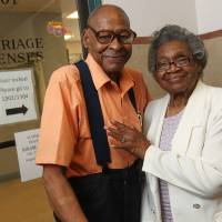 Photo -   In a Monday, July 23, 2012 photo, Roland Davis of Colorado, left, and Lena Henderson of West Seneca, N.Y. pose for a photo at the Buffalo City Hall. DAvis and Henderson were divorced 50 years ago in Georgia. At 85, they are remarrying. They went to City Hall to get their marriage license,, for their August 4 wedding. (AP Photo/Buffalo News, Sharon Cantillon) (AP Photo/The Buffalo News, ) TV OUT; MAGS OUT; MANDATORY CREDIT; BATAVIA DAILY NEWS OUT; DUNKIRK OBSERVER OUT; JAMESTOWN POST-JOURNAL OUT; LOCKPORT UNION-SUN JOURNAL OUT; NIAGARA GAZETTE OUT; OLEAN TIMES-HERALD OUT; SALAMANCA PRESS OUT; TONAWANDA NEWS OUT