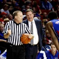 Photo - Kansas head coach Bill Self talks to a referee as the University of Oklahoma Sooners (OU) play the Kansas Jayhawks (KU) in NCAA, men's college basketball at The Lloyd Noble Center on Saturday, Feb. 9, 2013 in Norman, Okla. Photo by Steve Sisney, The Oklahoman