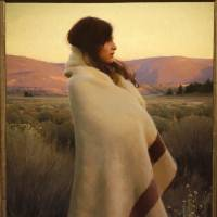 """Photo -  """"Silence and Sagebrush,"""" by artist Jeremy Lipking, was the Prix de West purchase award winner at the National Cowboy and Western Heritage Museum in Oklahoma City on Saturday. Photo by Paul Hellstern, The Oklahoman   PAUL HELLSTERN -"""