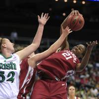 Photo - WOMEN'S COLLEGE BASKETBALL / WOMEN'S NCAA TOURNAMENT / OU / SWEET 16: University of Oklahoma forward Amanda Thompson (21) pulls down a rebound in front of Notre Dame center Erica Williamson (52) during the first half of an NCAA college basketball game at the Kansas City Regional semifinals, Sunday, March 28, 2010, in Kansas City, Mo. (AP Photo/Orlin Wagner) ORG XMIT: MOCO111