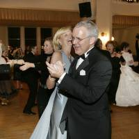 Photo - Gov. Brad Henry and his wife, Kim Henry, dance the first official dance with others at the Oklahoma Centennial Statehood Inaugural Ball, Saturday, Nov. 17, 2007, at the Guthrie Scottish Rite Masonic Center, in Guthrie, Okla. By Bill Waugh, The Oklahoman ORG XMIT: KOD