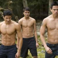 Photo - From left, Alex Meraz, who is is Purepecha, stars as Paul; Kiowa Gordon, who is Hualapai, stars as Embry Call; and Tahlequah-born Chaske Spencer, who is Lakota Sioux  stars as Sam Uley in