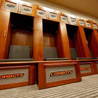 Photo - OSU / INTERIOR / FOOTBALL STADIUM / LOCKER ROOM: The completed addition to the west end zone of Boone Pickens Stadium at Oklahoma State University on Tuesday, June 2, 2009, in Stillwater, Okla.  Photo by Chris Landsberger, The Oklahoman  ORG XMIT: KOD