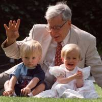 Photo - FILE- The British pioneer of IVF treatment, Professor Robert Edwards sits with two of his 'test-tube-babies', Sophie and Jack Emery who celebrate their second birthday in London in this file photo dated Monday July 20, 1998. The Nobel prize winner for medicine,  Edwards who was a pioneer of in-vitro fertilization, which became known as test tube babies, has died aged 87, it is announced Wednesday April 10, 2013. (AP Photo/Alastair Grant, File)