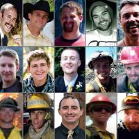 Photo - This photo combination made with undated family photos provided via the City of Prescott, Ariz. shows the 19 firefighters killed battling an out-of-control wildfire in Yarnell, Ariz., on June 30, 2013. Top row, from left: Andrew Sterling Ashcraft, Robert Caldwell, Travis Carter, Dustin James DeFord, Chris Mackenzie, Eric Shane Marsh, and Grant Quinn McKee. Second row, from left: Sean Misner, Scott Daniel Norris, Wade Scott Parker, John Joseph Percin Jr., Anthony Michael Rose, Jesse James Steed, and Joe Thurston. Bottom row, from left: Travis Turbyfill, William Howard