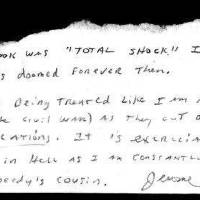 Photo - Hand written note sent to Oklahoman writer Nolan Clay from Jerome Ersland while in jail. ORG XMIT: KOD