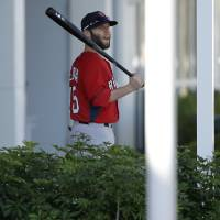 Photo - Boston Red Sox second baseman Dustin Pedroia holds a bat as he departs the clubhouse during spring training baseball practice, Monday, Feb. 17, 2014, in Fort Myers, Fla. (AP Photo/Steven Senne)