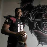 Photo - Pearland linebacker Justin Phillips, named the Houston Chronicle's All Greater Houston Defensive player of year, Monday, Dec. 23, 2013, in Pearland.  ( Karen Warren / Houston Chronicle )