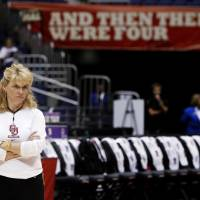 Photo - OU / WOMEN'S COLLEGE BASKETBALL / WOMEN'S NCAA TOURNAMENT: OU coach Sherri Coale watches  practice before the Final Four of the NCAA women's  basketball tournament at the Alamodome in San Antonio, Texas., on Saturday, April 3, 2010.  The University of Oklahoma will play Stanford on Sunday, April 4, 2010.  Photo by Bryan Terry, The Oklahoman ORG XMIT: KOD