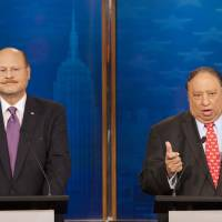 Photo - Republican candidates for mayor of New York Joe Lhota, left, and John Catsimatidis participate in a debate, Sunday, Sept. 8, 2013 in New York. The primary is Tuesday, Sept. 10 and the general election is Nov. 5. (AP Photo/Wall Street Journal, Andrew Hinderaker, Pool)
