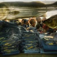 Photo -   Shoppers pick through stacks of discounted jeans beside a giant aquarium inside Bass Pro Shops after the doors opened at 5 a.m., kicking off