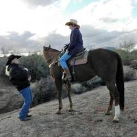Photo -  Elaine Pawlowski shows a student at Arizona Cowboy College in Scottsdale how to control a horse by using the reins properly. Photo courtesy of Victor Block.