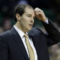 Photo - Baylor head coach Scott Drew watches from the sideline in the first half of an NCAA college basketball game against Kansas, Tuesday, Feb. 4, 2014, in Waco, Texas. Kansas won 69-52. (AP Photo/Tony Gutierrez)