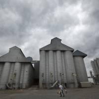 Photo -   Storm clouds leading remnants of Hurricane Isaac gather in the skies over a grain elevator in England, Ark., as a man carries tools into a gust of wind Thursday, Aug. 30, 2012. With the storms approaching many farm states, some farmers wonder whether too much relief is on the horizon. (AP Photo/Danny Johnston)