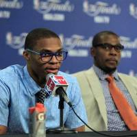 Photo -  Kevin Durant and Russell Westbrook are pioneers in the NBA's style movement. / AP photo by Sue Ogrocki