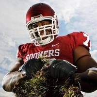 Photo -  OU offensive lineman Duke Robinson poses for a photo on the football practice field at the University of Oklahoma in Norman, Okla., Wednesday, July 16, 2008. BY NATE BILLINGS, THE OKLAHOMAN