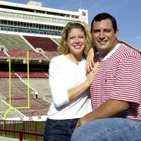 Photo - Former OU center Bubba Burcham and his wife, Miranda. Photo by The Oklahoman Archives