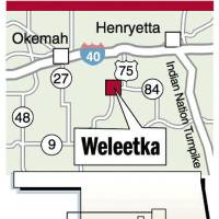 Photo - Weleetka MAP / GRAPHIC: Okemah, Henryetta, Indian Nation Turnpike, Interstate 40, I-40, Highway 27, Highway 48, Highway 9, Highway 84, Interstate 75, detail area, Oklahoma City