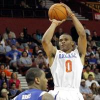 Photo -  Oklahoma City Thunder guard Russell Westbrook's offensive arsenal could now incude a more consistent jumper and a floater.