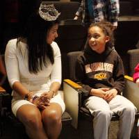Photo -  Nine-year-old Addison Roberts from Westwood elementary school (right) talks to Nina Davuluri, 2014 Miss America, after Davuluri gave a speech to Stillwater third-grade students Thursday at the Wes Watkins Center. Davuluri lived part of her childhood in Ada before eventually moving to New York. Photo by KT King, for The Oklahoman   KT King -  KT King, The Oklahoman
