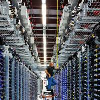 Photo - Google's Roger Harris takes care of the infrastructure in the company's Pryor data center.