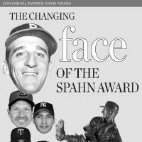 Photo - The Warren Spahn Award winners faces graphic: From top; Warren Spahn, Randy Johnson, Andy Pettitte, Johan Santana, Dontrelle Willis and CC Sabathia are the faces of the lefty pitcher's award. At right, Sabathia is a threetime and current winner. Below, Willis won the award in 2005.  PHOTOS BY STEVE GOOCH, THE OKLAHOMAN ARCHIVE AND AP (PHOTOS UNAVAILABLE OF RANDY JACKSON, JOHAN SANTANA, DONTRELLE WILLIS, BOTH PICTURES OF CC SABATHIA AND THE WARREN SPAHN AWARD)