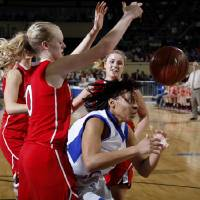 Photo - Millwood's Quira Demery loses control of the ball beside Prague's Whitney Stotler during the Class 3A girls high school state basketball championship game at State Fair Arena in Oklahoma City, Saturday, March 10, 2012. Photo by Bryan Terry, The Oklahoman