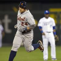 Photo -   Detroit Tigers' Miguel Cabrera (24) rounds the bases after hitting a solo home run during the sixth inning of a baseball game against the Kansas City Royals at Kauffman Stadium in Kansas City, Mo., Monday, Oct. 1, 2012. (AP Photo/Orlin Wagner)