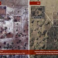 Photo - This combination satellite image taken by DigitalGlobe and released Thursday, Dec. 6, 2012 by the Enough Project, is claimed by the Satellite Sentinel Project to show before and after imagery taken March 27, 2012, left, and Nov. 26, 2012, right, of a burned village near Dilling in the South Kordofan region of Sudan. George Clooney, through the Satellite Sentinel Project which he helped found, said Thursday that satellite imagery shows that 26 villages, food crops and grasslands were intentionally burned in a 54-square-mile (140-square-kilometer) area of the Nuba Mountains of Sudan in November 2012. (AP Photo/DigitalGlobe via Enough Project)