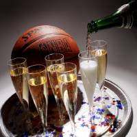 Photo - SEATTLE SUPERSONICS, NBA BASKETBALL TEAM, RELOCATE, RELOCATION, MOVE, SETTLE, SETTLEMENT, CHAMPAGNE, TRAY, CELEBRATE: Photo Illustration, the celebration has just begun for the Sonics in Oklahoma City, Tuesday July 2, 2008. BY DOUG HOKE, THE OKLAHOMAN ORG XMIT: KOD
