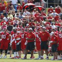 Photo - Kansas City Chiefs practice in front of a crowd during NFL football training camp in St. Joseph, Mo., Friday, July 26, 2013. Friday was the first day camp was open to the public. (AP Photo/Orlin Wagner)
