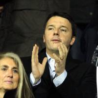 Photo - Democratic Party leader Matteo Renzi, a Fiorentina supporter, attends a Serie A soccer match between Fiorentina and Inter Milan at the Artemio Franchi stadium in Florence, Italy, Saturday,  Feb. 15, 2014. Italy's President Giorgio Napolitano met with political leaders in Rome to try to determine if Renzi has enough support to form a new government after he sidelined outgoing Premier Enrico Letta, a rival Democrat. (AP Photo/Fabrizio Giovannozzi)