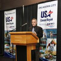 Photo - Joe Jacobi, USA Canoe/Kayak CEO, speaking during a ceremony announcing the relocation of the headquarters for USA Canoe/Kayak to Oklahoma City Tuesday, Dec. 13, 2011. Photo by Paul B. Southerland, The Oklahoman ORG XMIT: KOD