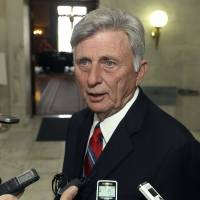 Photo - Arkansas Gov. Mike Beebe is interviewed in a hallway at the Arkansas state Capitol in Little Rock, Ark., Monday, March 4, 2013, after vetoing legislation that would have banned abortions 12 weeks into a pregnancy. (AP Photo/Danny Johnston)