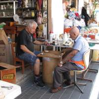 Photo -  Local men play backgammon in Jaffa, Israel. Photo courtesy of Barbara Selwitz.
