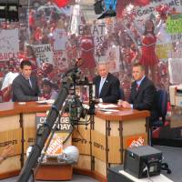 Photo - Columbus, OH - September 10, 2005: ESPN College GameDay - 2005 -- (L to R) Chris Fowler, Lee Corso, and Kirk Herbstreit.