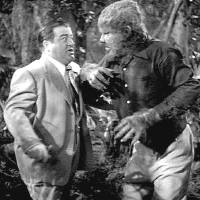 """Photo -  Lon Chaney Jr. plays the Wolf Man in a scene with Lou Costello from the 1948 movie """"Abbot and Costello Meet Frankenstein."""""""