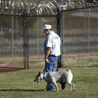 Photo - PRISON INMATES / DOGS: Inmate James Millhollin walks Annabelle at the Lexington Assessment and Reception Center, Friday, July 11,  2013, in Lexington, Okla. Photo by Sarah Phipps, The Oklahoman