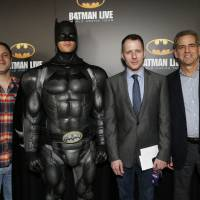 Photo - Posing with Batman, second from left, are Geoff Johns, chief creative officer of DC Entertainment; Allan Heinberg, writer of